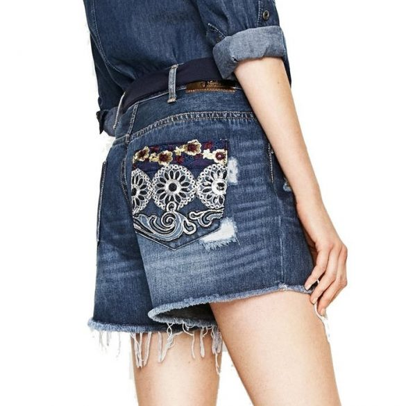 Desigual női rövid farmernadrág Denim Exotic Short Blue