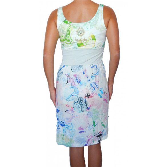 Desigual fehér színes ujjatlan pamut ruha Vest Sheila